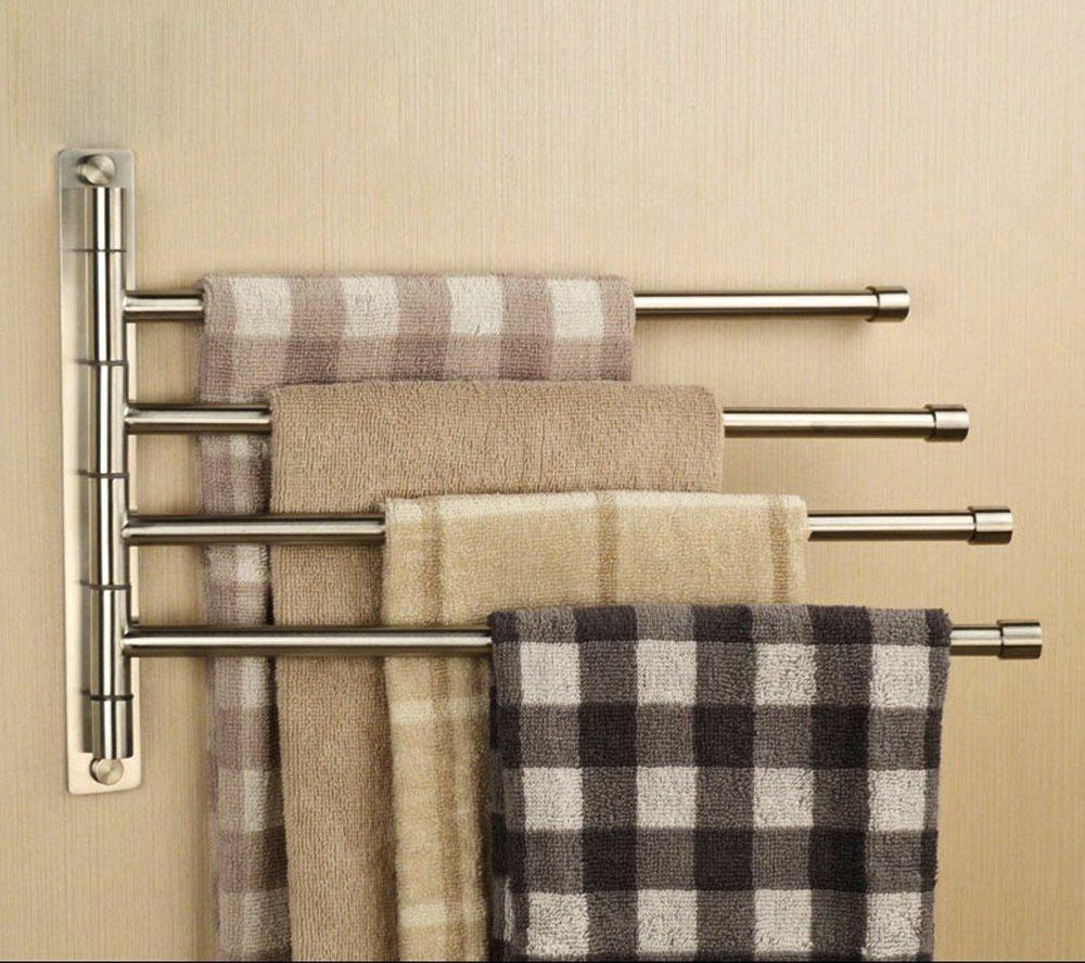 Sumnacon™ Silver Stainless Steel Wall-Mounted Towel rail Swivel Bars Bathroom Towel Rack Hanger Holder Organizer (4 Bar) review
