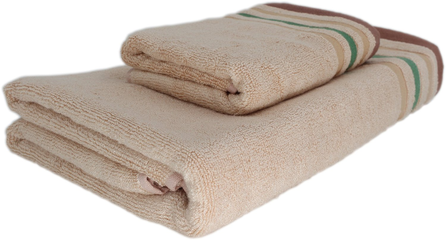 Bamboo Fiber Towel, 2-piece Set, Hand Towel and Bath Towel, Permanent Amtimicrobial, No Odor, For All Skin Types, Babyfriendly(light Brown) review