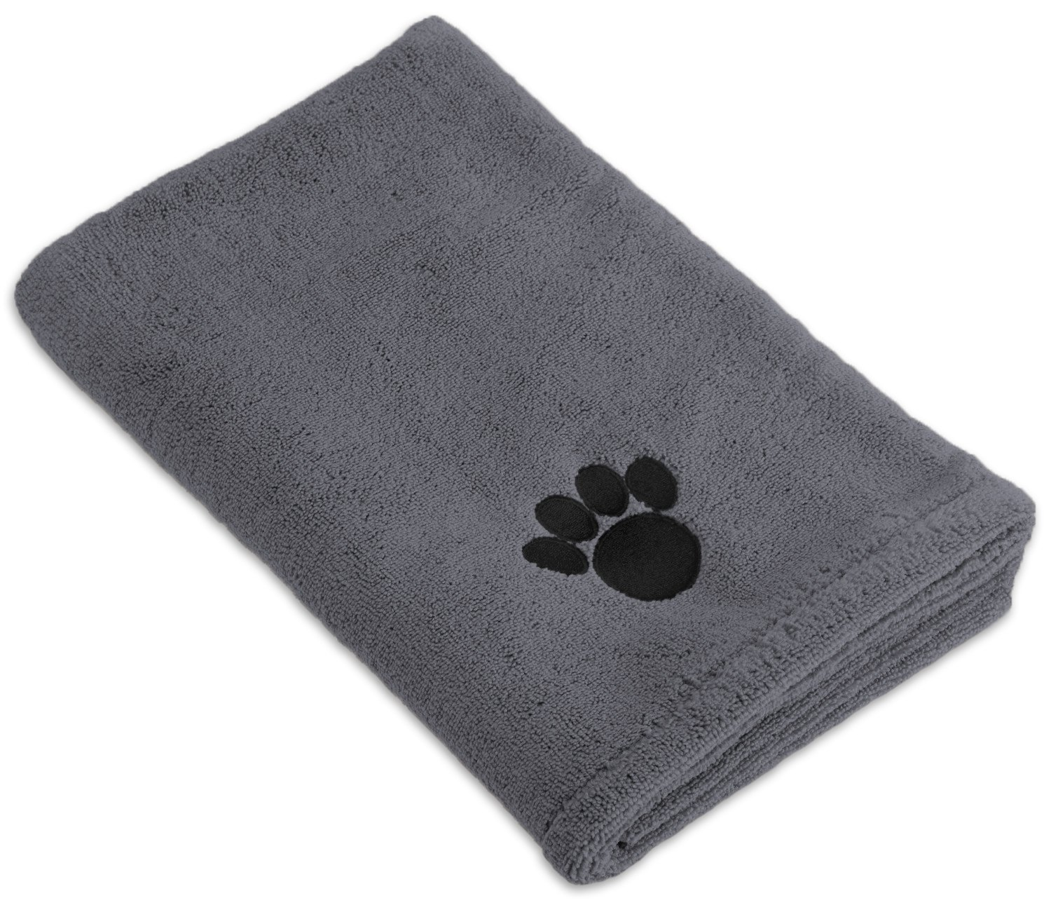 DII Bone Dry Microfiber Dog Bath Towel with Embroidered Paw Print, 44 x 27.5″, Gray review