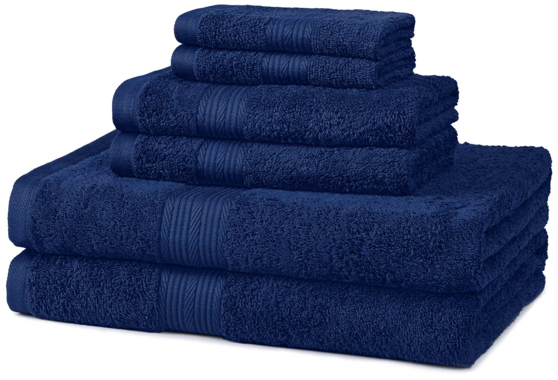 AmazonBasics Fade-Resistant Cotton 6-Piece Towel Set, Navy Blue review