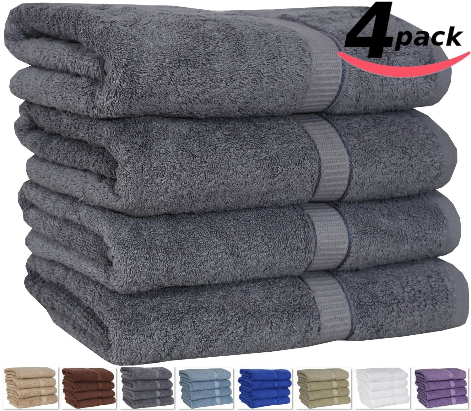 Utopia 100% Cotton Bath Towels, Easy Care, Ringspun Cotton for Maximum Softness and Absorbency, 4-Pack – Gray (26″ x 52″) review