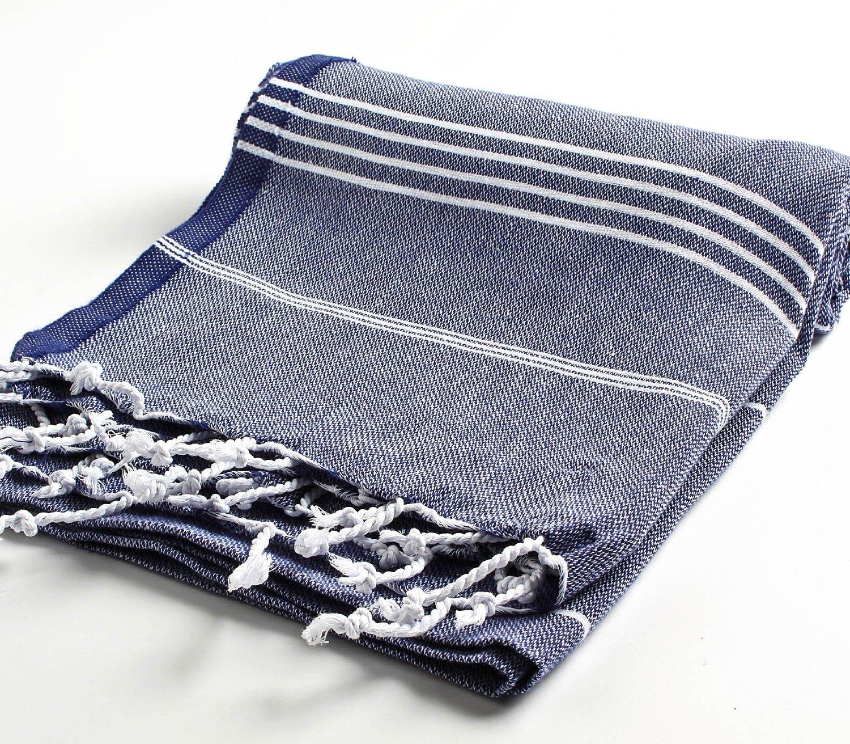 Cacala 100% Cotton Pestemal Turkish Bath Towel, 37 x 70″, Dark Blue review