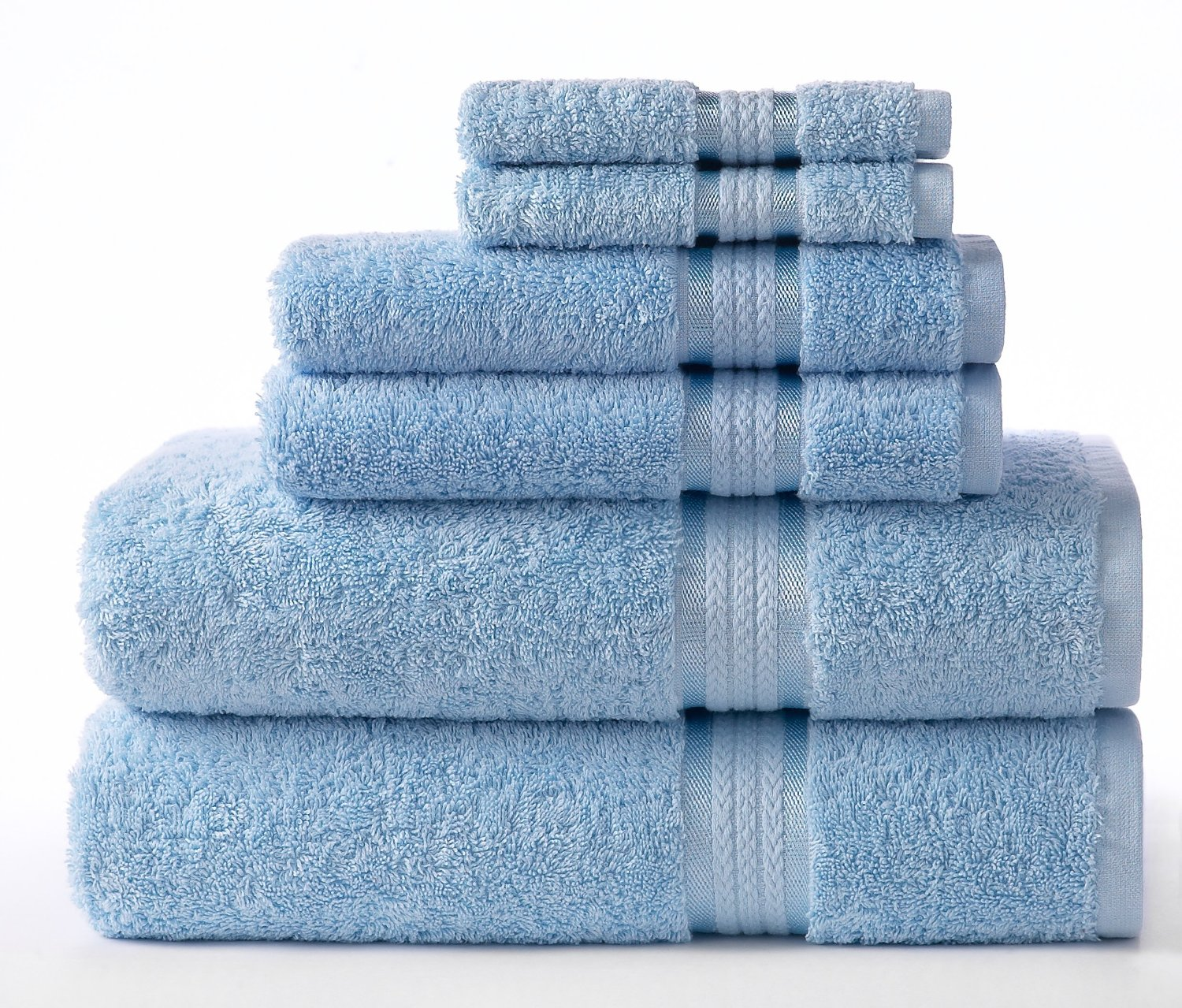 Cotton Craft Ultra Soft 6 Piece Towel Set Light Blue, Luxurious 100% Ringspun Cotton, Heavy Weight & Absorbent, Rayon Trim – 2 Oversized Large Bath Towels 30×54, 2 Hand Towels 16×28, 2 Wash Cloths 12×12 review